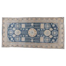 Khotan Carpet , Oriental Rug , Chinese Central Asia / Xiajiang Province , Early 20th Century , 12.5 x 6