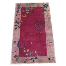 Tientsin Chinese Art Deco Scatter Oriental Rug , Northeast China 1920's , 4.3 x 2.6