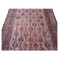 Worn Antique khamseh Small Carpet , Oriental Rug , Fars Province , SW Persia , Late 19th Century , 9 x 4.11