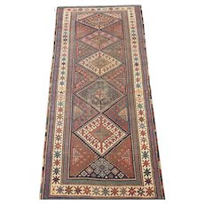South Caucasian Long Rug  7.6 x 3.3 , Late 19th Century