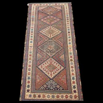 South Caucasian Long Rug  7.6 x 3.3 , Late 19th Century