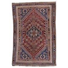 Vintage Qashqai Tribal Oriental Rug 6.5x4.3 , SW Persia 1930's