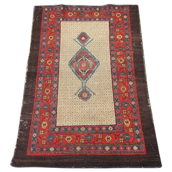 Antique ScatterCamel Hair Rug , Hamadan Weaving Region circa 1900 , 4.5 x 3