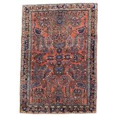 Sarouk Oriental Rug 4.10x3.4, Central Persia 1920's