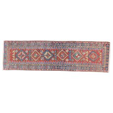 Antique Small Heriz Runner 8.2x2.4 , Oriental Rug, NW Persia circa 1910
