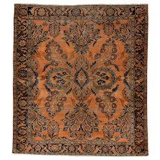 Antique Square Lilian Oriental Rug, 6.2x5.7 circa 1910's