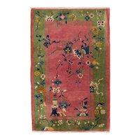 Chinese Art Deco Oriental Rug 4.10x3.2 Tientsin ( Tianjin ), NE China circa 1925