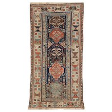 Antique Kurd Long Oriental Rug 7.2 x 3.7, Kurdistan,West Persia circa 1890