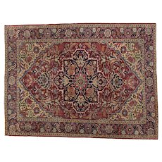 Vintage Heriz Small Carpet 9.1x6.9 Oriental Rug , NW Persia 1930's