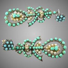 Georgian Antique Turquoise Pearl Ear Pendants Earrings