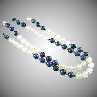 Lapis Lazuli Rock Crystal 14k Gold Pead Strand Necklace