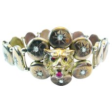 Antique Ruby Diamond Lions Head Gold Bracelet