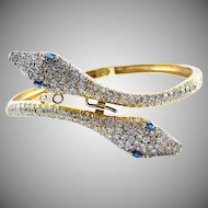 Diamond Sapphire 18k Yellow Gold Snake Bracelet