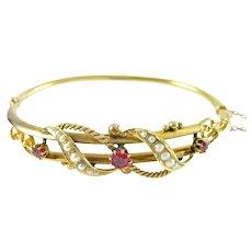 Victorian 9K Gold Ruby Seed Pearl Bangle Bracelet—English Hallmarks