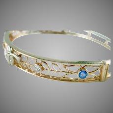Antique Diamond Blue Sapphire 18K Gold Platinum Filigree Bracelet