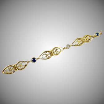 Art Nouveau Sapphire Diamond 14k Gold Platinum Fancy Link Bracelet