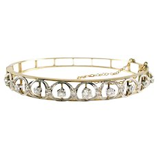 Antique Edwardian Diamond Platinum Gold Bangle Bracelet
