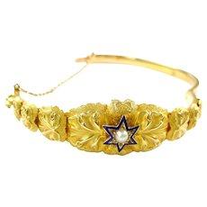 Antique Enamel Pearl Gold Star Bangle Bracelet
