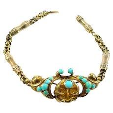 Victorian Turquoise 14k Yellow Gold Fancy Link  Bracelet