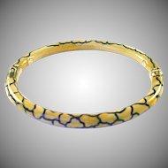 Vintage SOHO 18k Gold Enamel Giraffe Motif Bangle Bracelet