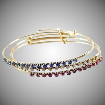 Rare and Fabulous Harem Bracelet--Ruby Diamond Sapphire 14k Gold
