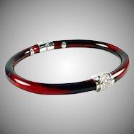 SOHO Enamel Diamond 18k White Gold 'Granato' Bangle Bracelet