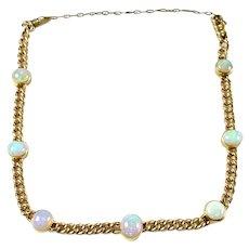 English Antique 15ct. Gold Opal Curb Link Bracelet