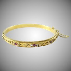 Victorian English 15ct Gold Ruby Diamond Bangle Bracelet