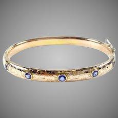 Edwardian Antique Sapphire 14k Gold Bangle Bracelet