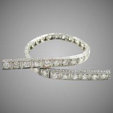 Stunning Art Deco Platinum 4.00 Ct. Diamond Straight Line Bracelet