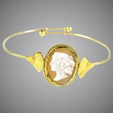 Egyptian Revival Cameo 18k Gold Adjustable Bangle Bracelet