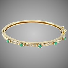 Vintage Emerald Diamond 14k Gold Bangle Bracelet