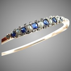 Sweet Edwardian Sapphire Diamond Pearl 14k Rose Gold Bangle Bracelet