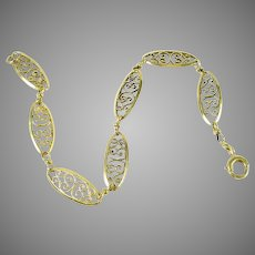 Vintage Filigree 18k Gold Fancy Link Bracelet--1930