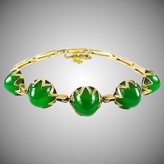 Art Deco Chrysoprase 18k Yellow Gold Bracelet
