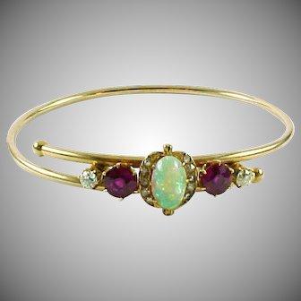 Antique Opal Diamond Bypass 14k Rose Gold Bangle Bracelet