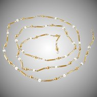 18k Yellow Gold Pearl Baton Link Chain Necklace