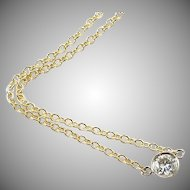 Vintage Station .35 ct. Diamonds By Yard 14k Yellow Gold Chain Necklace