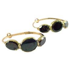 Antique Georgian Flat Garnet 14k Rose Gold Hoop Earrings - Red Tag Sale Item