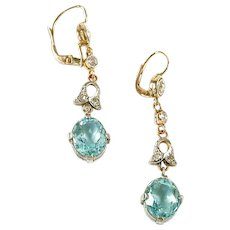 Edwardian Antique Aquamarine Diamond Platinum 18k Gold Ear Pendants Earrings