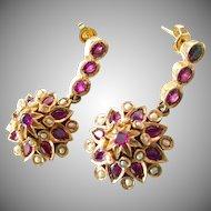 Vintage Moghul Ruby Seed Pearl Rose Gold Earrings Earpendants