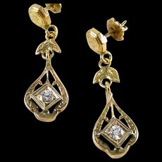 Art Deco Yellow Gold Diamond Earrings - Red Tag Sale Item