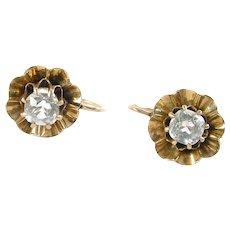 Antique Buttercup 14k Rose Gold Paste Earrings
