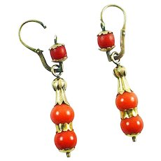 Antique Coral Day to Night Drop Bead Earrings