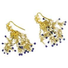 Vintage Mughal 22k Gold Pearl Lapis Drop Earrings