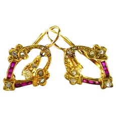 Ruby Diamond Gold Continental Styled French Back Earrings