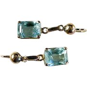 Retro Moderne Aquamarine 14k Gold Earrings