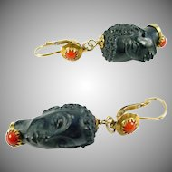 Vintage Moretti Coral 18k Gold Pendant Earrings--Corletto