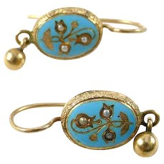 Antique Robin's Egg Blue Enamel 14k Gold Earrings