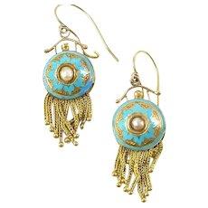 Antique Robin's Egg Blue Enamel 18k Gold Foxtail Fringe Earrings